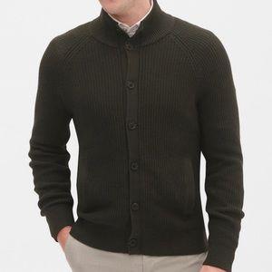 Banana Republic Ribbed Mockneck Button-Down Jacket